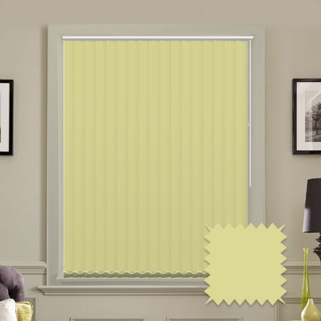 Made to measure vertical blinds in Splash Amalfi Yellow plain fabric - Just Blinds